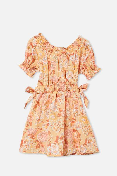 Samira Short Sleeve Dress, PEACHY PAINTERLY FLORAL