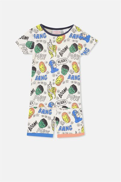 Joshua Short Sleeve Pyjama Set, LCN MARVEL AVENGER HEADS