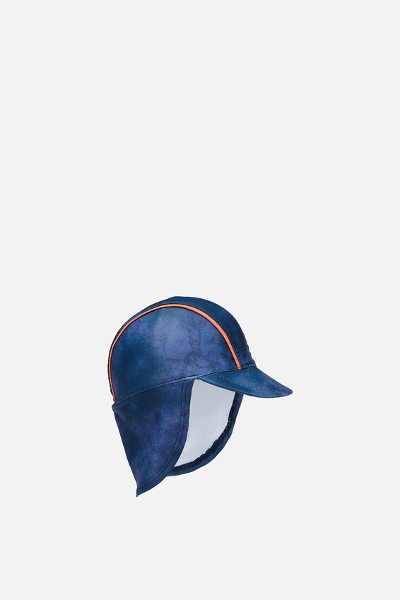 Newborn Sonny Swim Hat, WASHED NAVY/TIE DYE