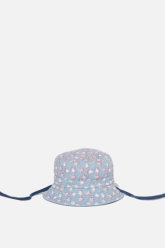 Reversible Bucket Hat, NAVY PALM TREE