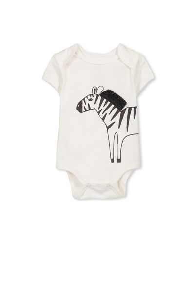 Mini Short Sleeve Bubby, VANILLA/ZEBRA
