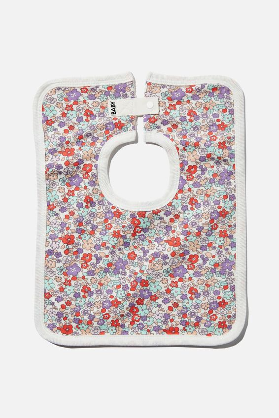 The Square Bib, VANILLA/GRAPE SODA GARDEN FLORAL