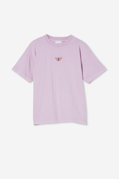 Scout Embellished Short Sleeve Tee, PALE VIOLET/BUTTERFLY EMBROIDERY