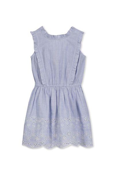 Emmie Dress, BLUE/WHITE STRIPE/EMB