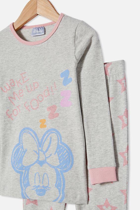 Lila Long Sleeve Pyjama Set Licensed, LCN DIS MINNIE FOOD / SUMMER GREY MARLE