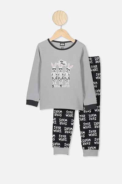 Noah Long Sleeve Pj Set, LCN LU CUMULUS GREY/BUNNY STORM TROOPERS