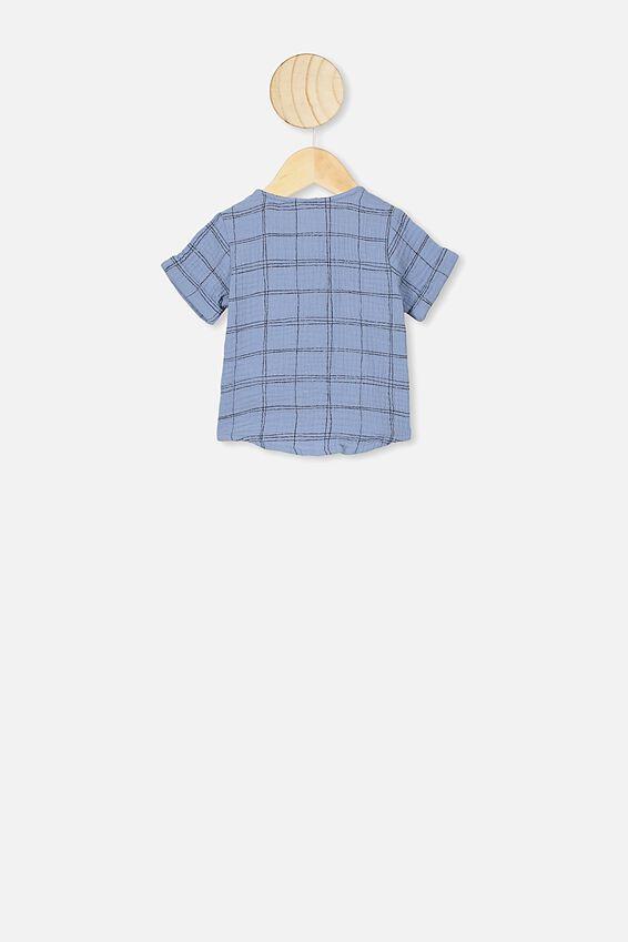 Mike Short Sleeve Shirt, POWDER PUFF BLUE/SKETCHY GRID