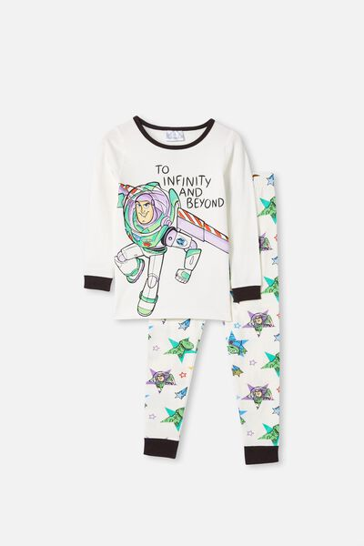 Ethan Long Sleeve Pyjama Set, LCN DIS BUZZ LIGHTYEAR VANILLA