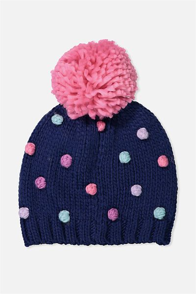 Winter Knit Beanie, NAVY PEONY MINI POM POM