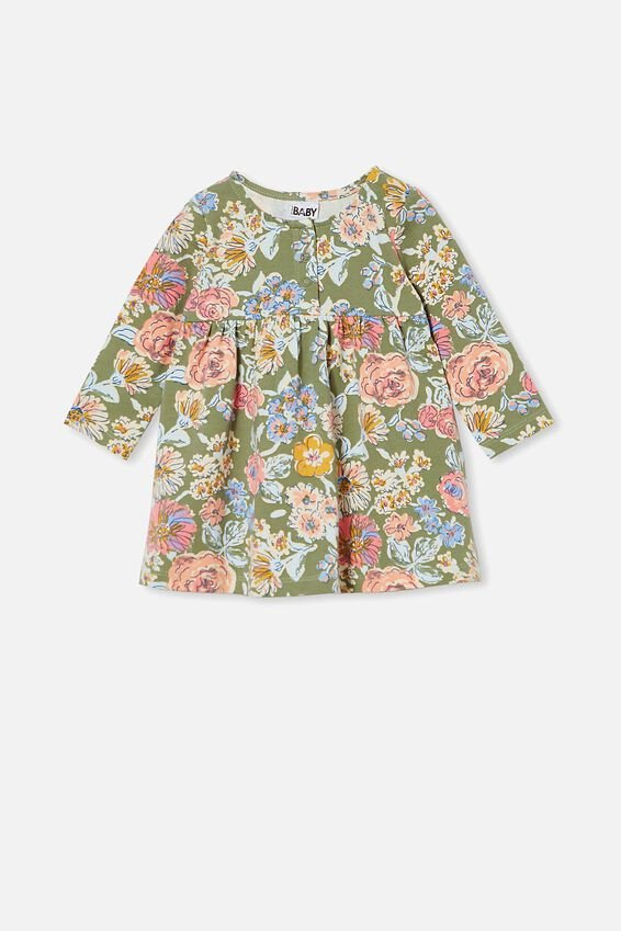 Molly Long Sleeve Dress, SILVER SAGE/MATILDA FLORAL