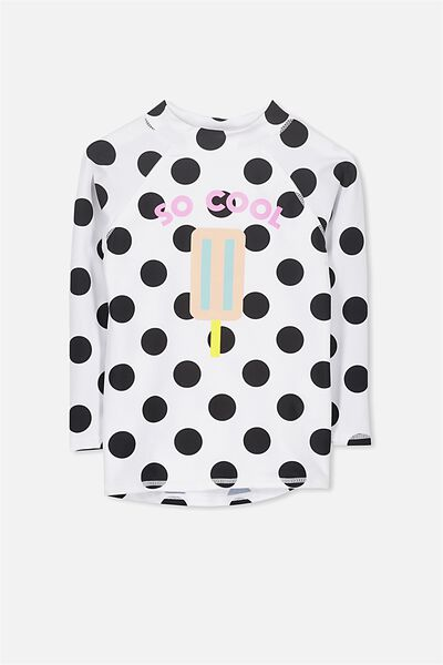 Hamilton Long Sleeve Rash Vest, VANILLA LARGE SPOTS/SO COOL