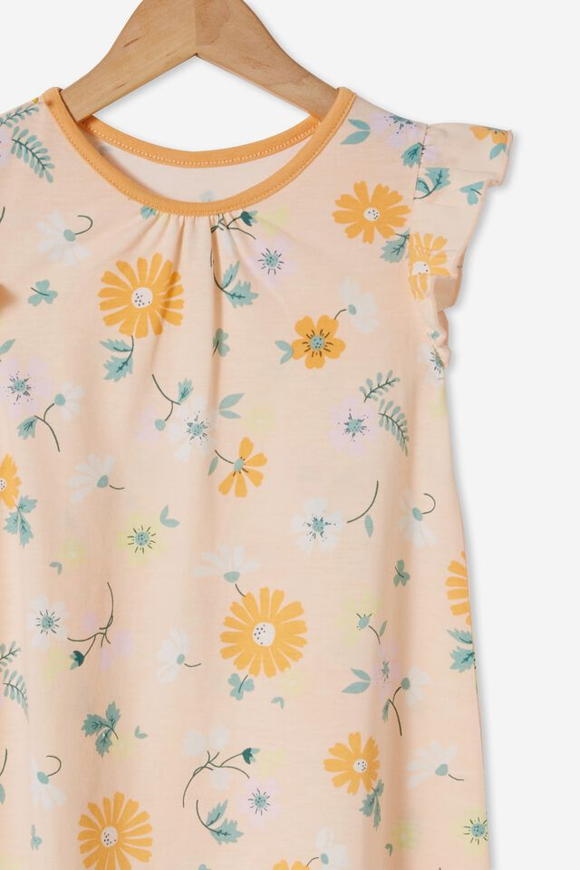 Suzie Flutter Long Length Nightie, TOPENGA FLORAL PEACH TANG