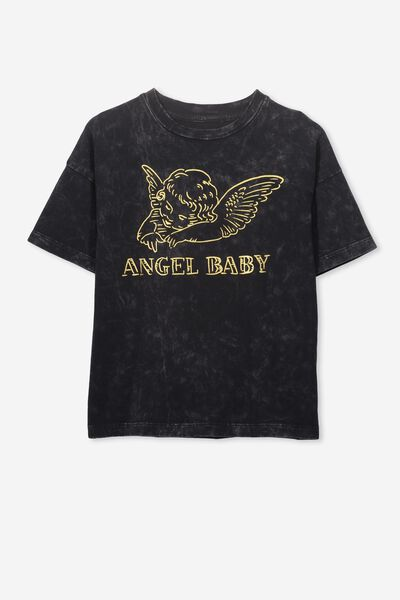 Penelope Short Sleeve Tee, PHANTOM/ANGEL BABY/LOOSE FIT