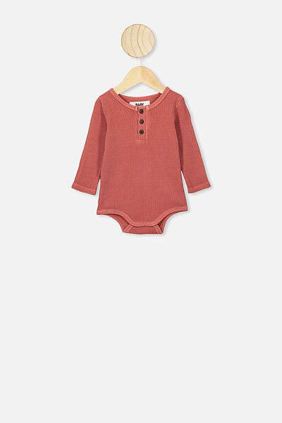 The Long Sleeve Waffle Bubbysuit, RED BRICK
