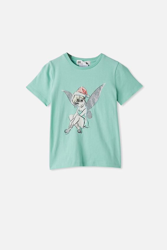 License Short Sleeve Tee, LCN DIS MINT BREEZE/TINKERBELL CHRISTMAS