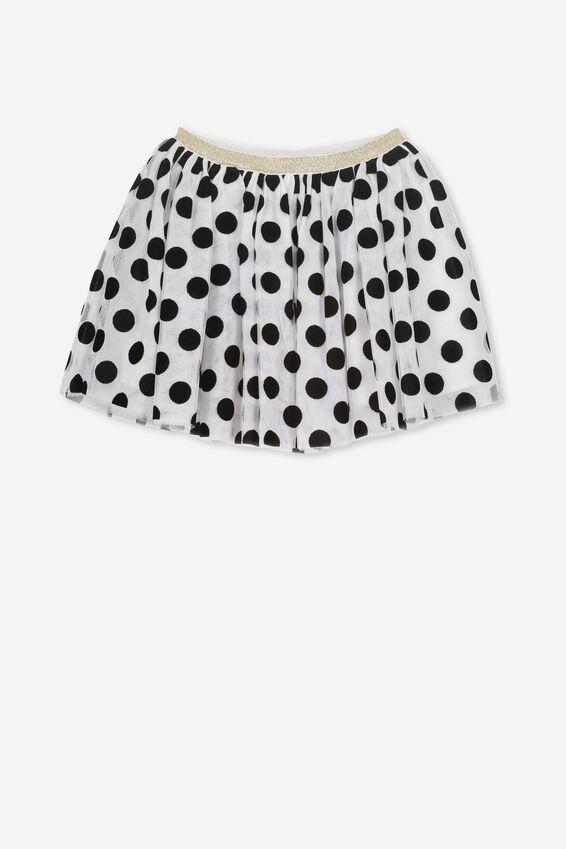 Trixiebelle Tulle Skirt, WHITE/BLACK POLKA DOT