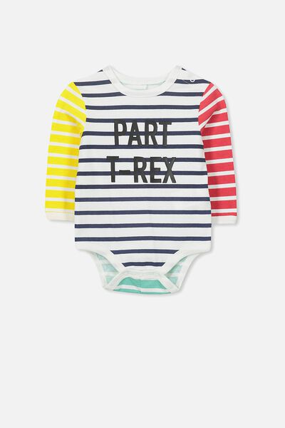 Ben Ls Bubbysuit, MULTI STRIPE/PART T-REX