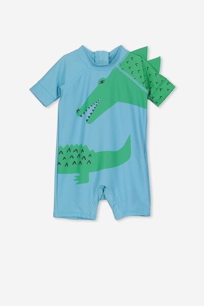 Short Sleeve Harris One Piece Swimsuit, SEA TINT/CROC