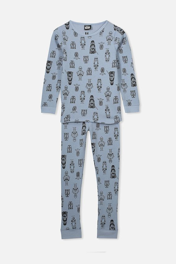 Jack Boys Long Sleeve Waffle Pyjama Set, LCN LU STAR WARS/CHARACTERS