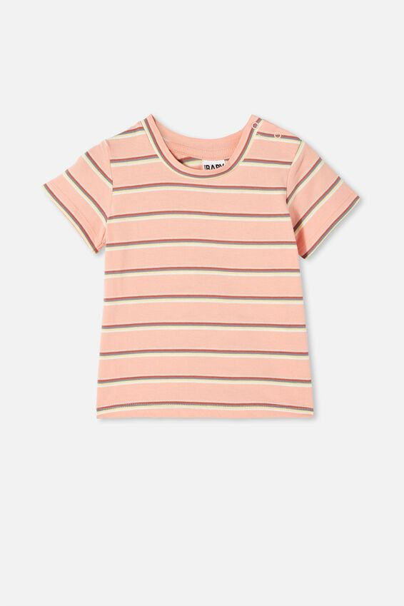 Jamie Short Sleeve Tee, MUSK MELON/RAINBOW STRIPE