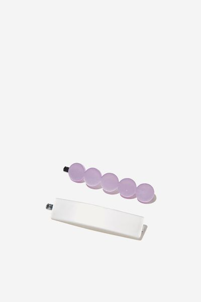 Hair Clips, S PURPLE LILAC WHITE SHAPES