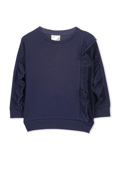 Sage Front Frill Sweatshirt, PEACOAT