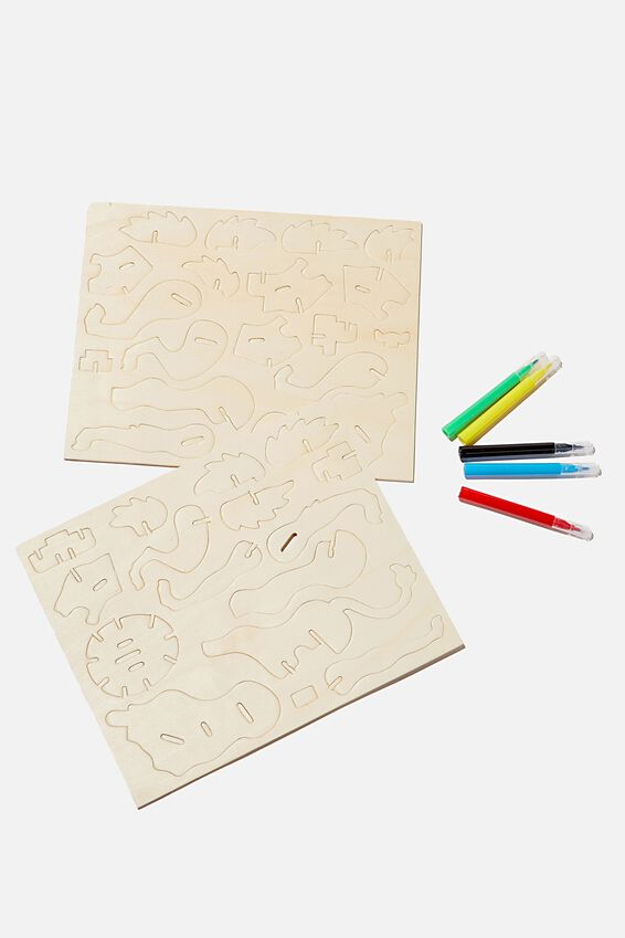 Wooden 3D Puzzle And Markers, LION
