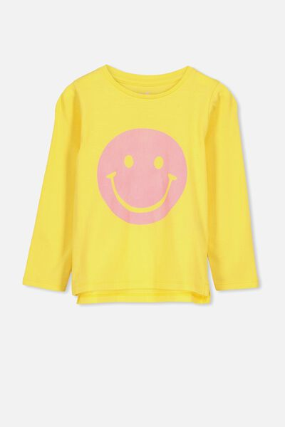 Penelope Long Sleeve Tee, DUNGAREE YELLOW/SMILEY/SET IN