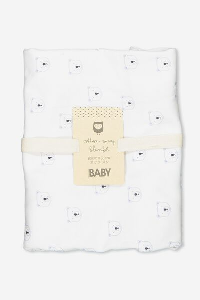 Newborn Wrap Blanket, PURE WHITE/WINTER SKY BEARS