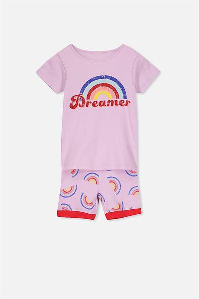 Chloe Girls Short Sleeve PJ Set, RAINBOW DREAMER