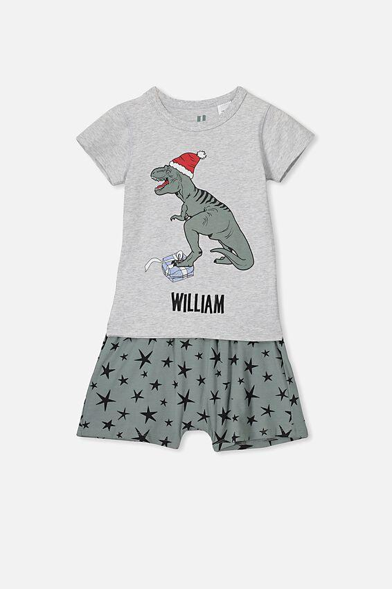 Personalised Hudson Short Sleeve Pyjama Set, XMAS DINO/PERSONALISED