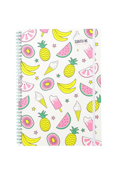 My A4 Spiral Notebook, SNS PINK HAPPY FOODS