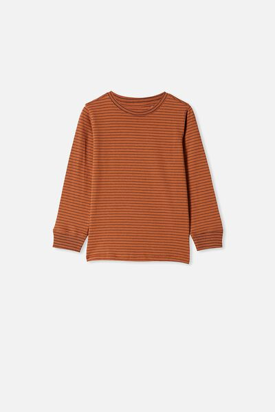 Core Long Sleeve Tee, AMBER BROWN/ PHANTOM STRIPE