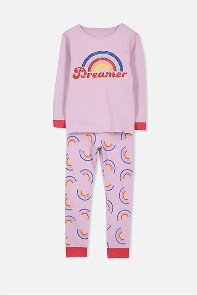 Alicia Long Sleeve Girls PJ Set, RAINBOW DREAMER