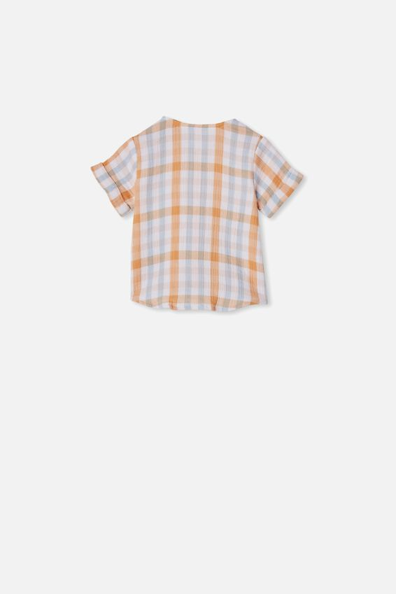Mike Short Sleeve Shirt, APRICOT SUN/KEANAN CHECK