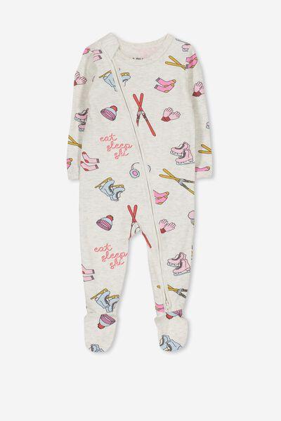 Sleep Mini Zip All In One Jumpsuit, OATMEAL MARLE/EAT SLEEP SKI