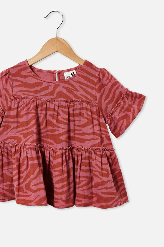 Frede Short Sleeve Frill Top, VERY BERRY TIGER