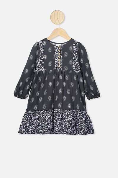 Ebony Long Sleeve Dress, PHANTOM/PAISLEY TEARDROP SPLICE