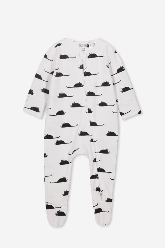 The Long Sleeve Zip Romper, WHITE/MOUSEY
