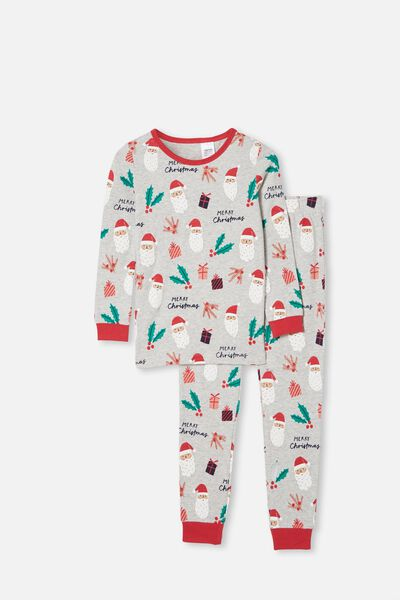 Avery Kids Unisex Long Sleeve Pyjama Set, SANTA FACE SUMMER GREY MARLE