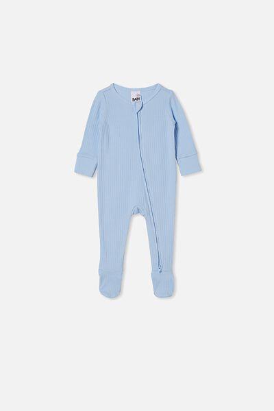Organic Newborn Zip Through Romper, WHITE WATER BLUE