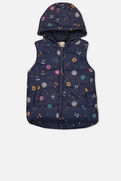 Rose Reversible Puffer Vest, PEACOAT STARS/DITZY FLORAL