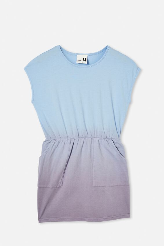 Sigrid Short Sleeve Dress, DUSK BLUE/DIP DYE