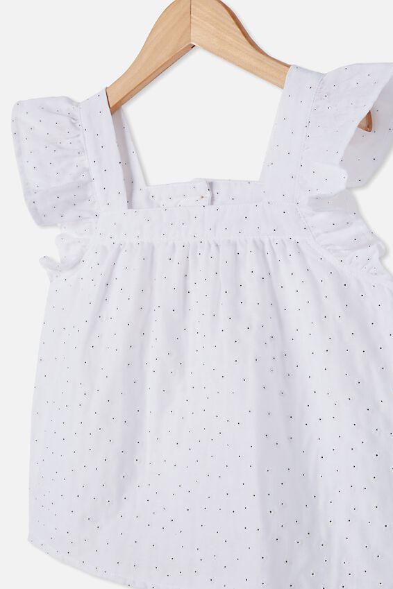 Perri Ruffle Sleeve Top, WHITE/PUFF DAISY