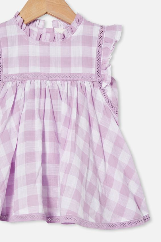 Tess Flutter Sleeve Dress, PALE VIOLET/VANILLA MAXI GINGHAM