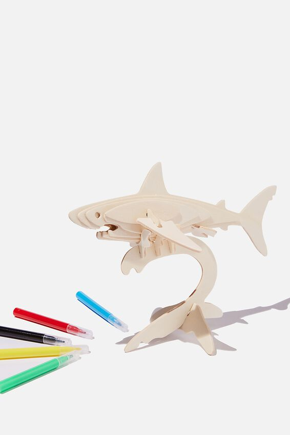 Wooden 3D Puzzle And Markers, SHARK