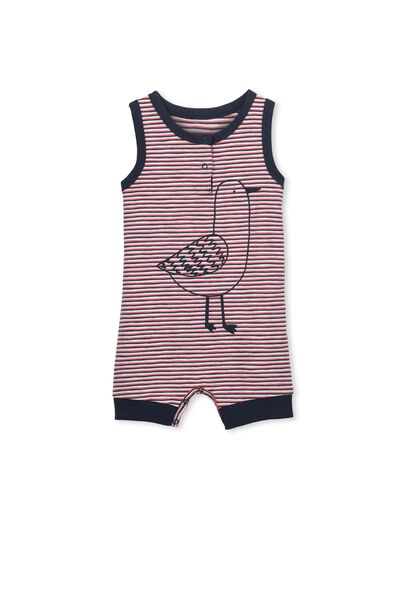 Mini Tank Romper, RED INKY STRIPE/SEAGULL
