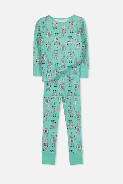 Jack Boys Long Sleeve Waffle Pyjama Set, ROBOT ON THE MOVE