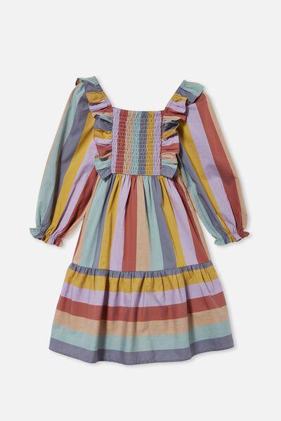 Jenna Long Sleeve Dress, AUTUMN RAINBOW STRIPE