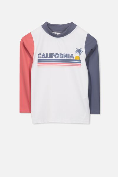 Fraser Long Sleeve Rash Vest, WHITE/CALIFORNIA SUN